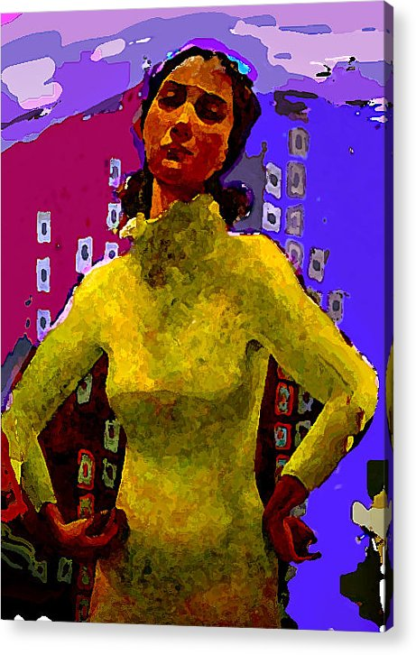 Woman Acrylic Print featuring the painting Departure by Noredin Morgan