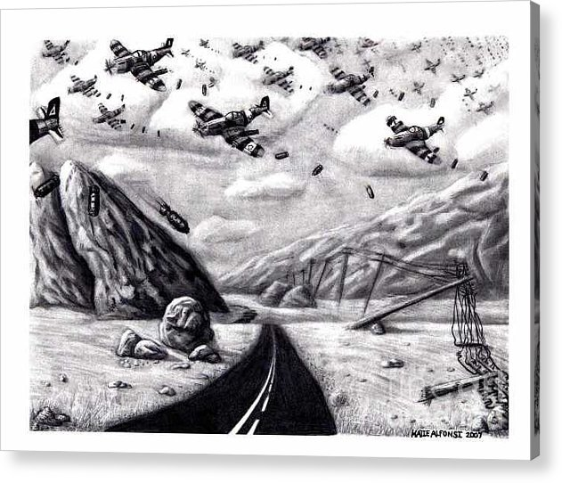 War Acrylic Print featuring the drawing Desolate For Gunshy The Final Piece by Katie Alfonsi