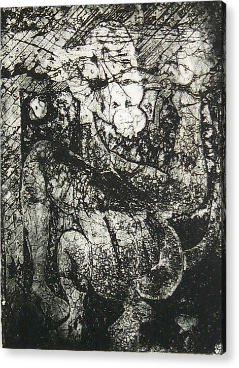 Etching Acrylic Print featuring the print Destroy Plate by Thomas Valentine