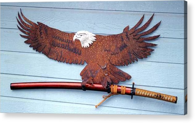 Steel Acrylic Print featuring the sculpture Eagle Sold  by Steve Mudge