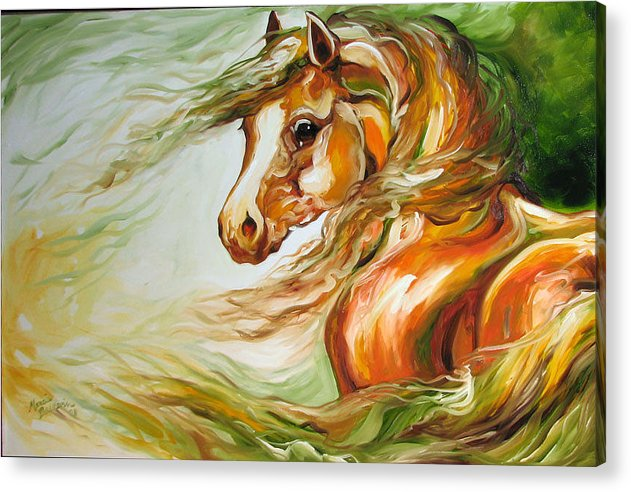 Horse Acrylic Print featuring the painting Earth Wind And Fire 2  Sold by Marcia Baldwin