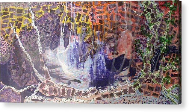 Abstract Encaustic Acrylic Print featuring the painting Earthquake by Heather Hennick