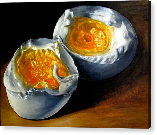 Eggs Acrylic Print featuring the painting Eggs Contemporary Oil Painting On Canvas by Natalja Picugina