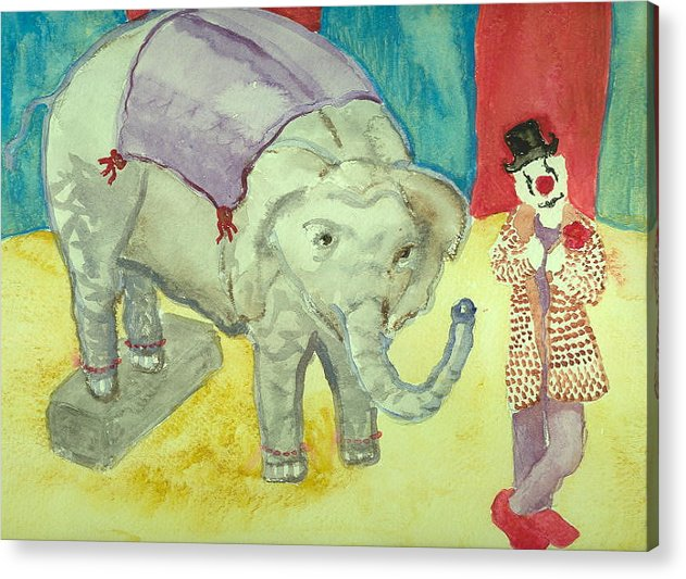 Elephant Clown Circus Fantasy Hillaryart Acrylic Print featuring the painting Elephant Betty And Clown by Hillary McAllister