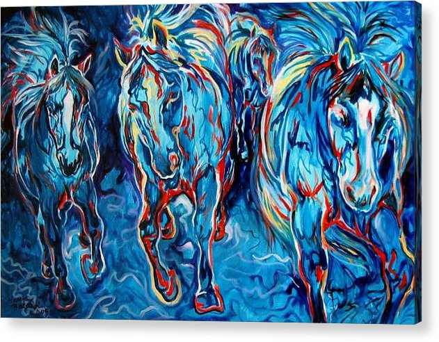 Horse Acrylic Print featuring the painting Equine Abstract Blue Four By M Baldwin by Marcia Baldwin