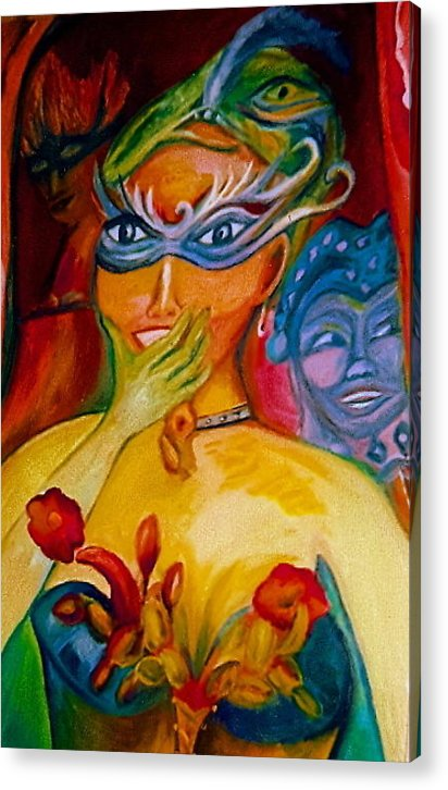 Mardi Gras Acrylic Print featuring the painting Expressions Of Mardi Gras by Sidra Myers