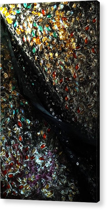 Black Acrylic Print featuring the painting Fantasy Night by Tian S
