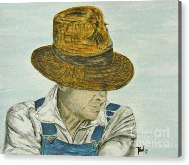 Portrait Acrylic Print featuring the painting Farmer Ted by Regan J Smith