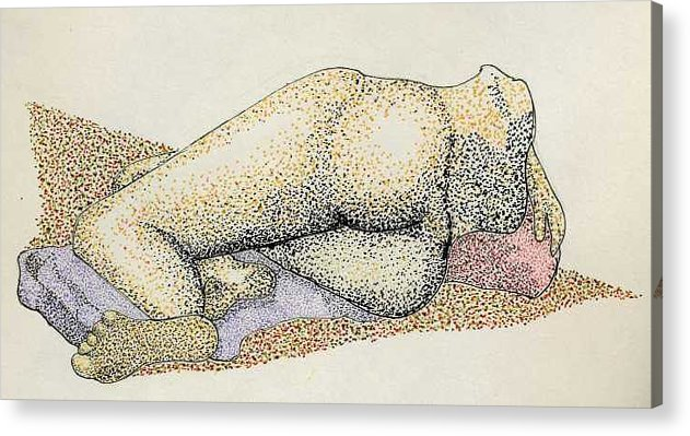Figure Laying Down Acrylic Print featuring the drawing Figure2.5 by M Brandl