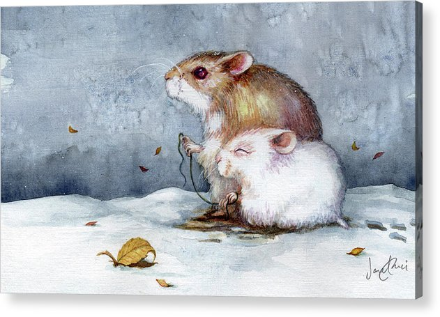 Hamster Acrylic Print featuring the painting First Snow by Janet Chui