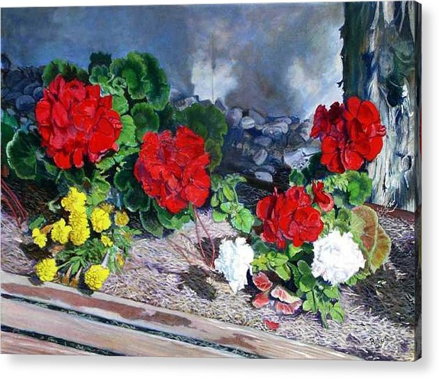 Colorful Flowers Outside Of The Church Acrylic Print featuring the painting Flowers At Church by Scott Robertson