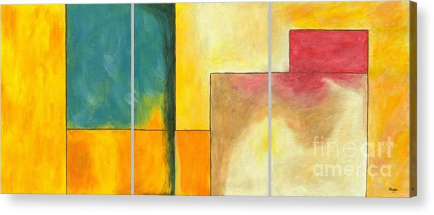 Abstract Acrylic Print featuring the painting Framed - Contemporary Modern Abstract Art Painting by Itaya Lightbourne