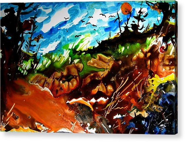 Acrylic Print featuring the painting Ghosts And Goblins Whoooo by Wilfred McOstrich