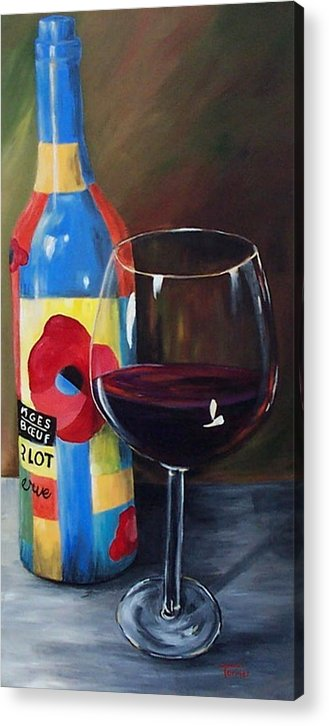 A Glass Of Red Wine Standing In Front Of The Colorful Bottle. Acrylic Print featuring the painting Glass Of Merlot  by Torrie Smiley