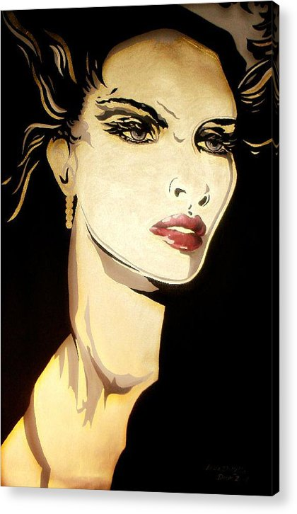 Female Acrylic Print featuring the painting Golden Diva by Lelia DeMello