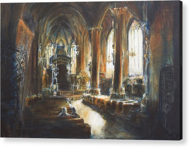 Church Acrylic Print featuring the painting Gothic Church by Nik Helbig