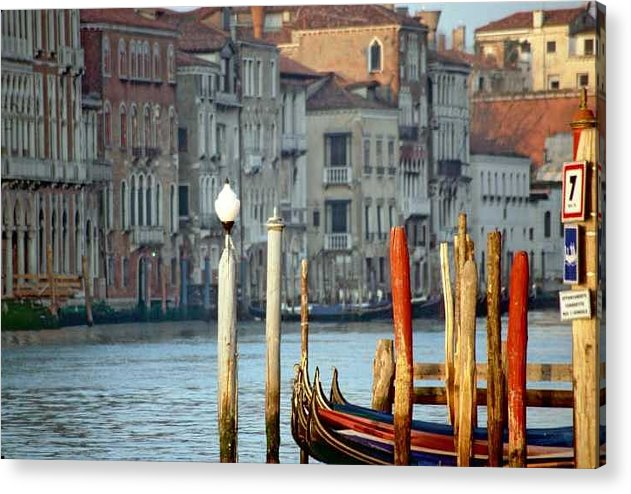 Venice Acrylic Print featuring the photograph Grand Canal In Venice With Light On Pole by Michael Henderson