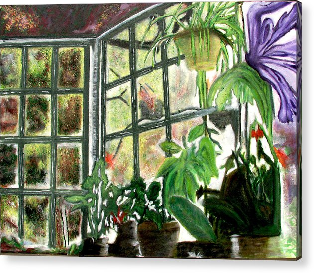 Flowers Acrylic Print featuring the painting Green House by Xavier Carter