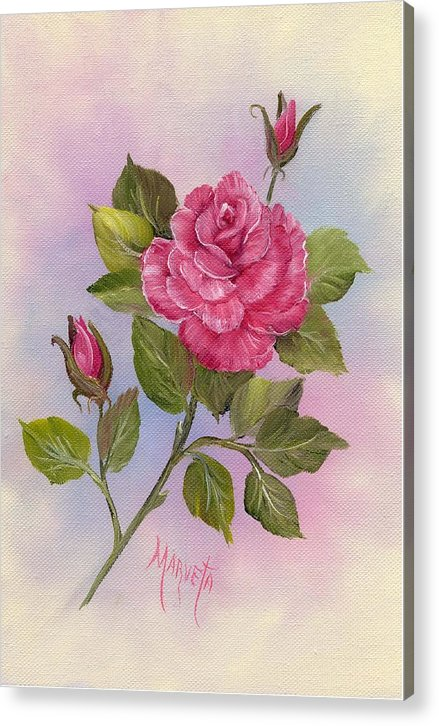 Paining Acrylic Print featuring the painting Happiness Rose by Marveta Foutch
