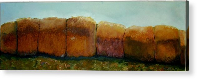 Oil Acrylic Print featuring the painting Haybales by Judy Blundell