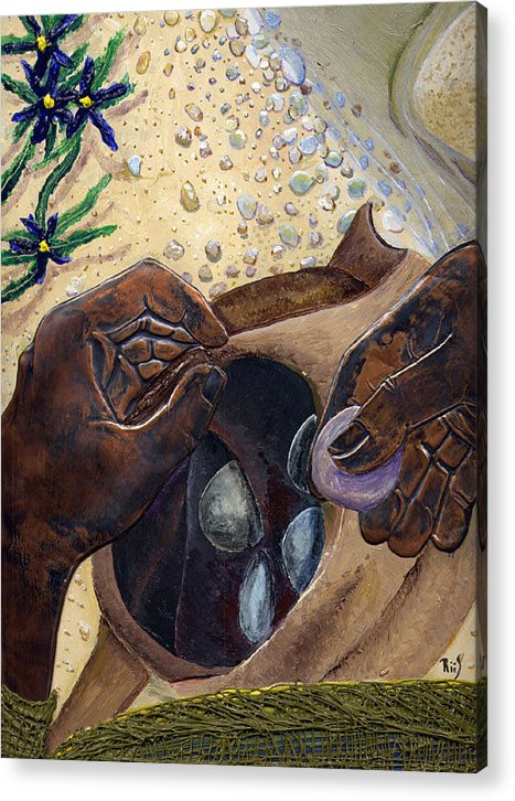 Bible Art Acrylic Print featuring the painting He Chose Him Five Smooth Stones by Dan RiiS Grife