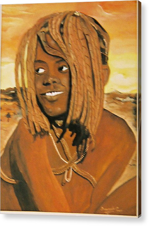 Figure Acrylic Print featuring the painting Himba Girl by Desenclos Patrick