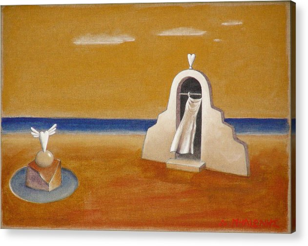 Chirico Acrylic Print featuring the painting House Of Eros by Dimitris Milionis