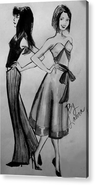 Fashion Acrylic Print featuring the drawing Ink Ladies by Laura Rispoli