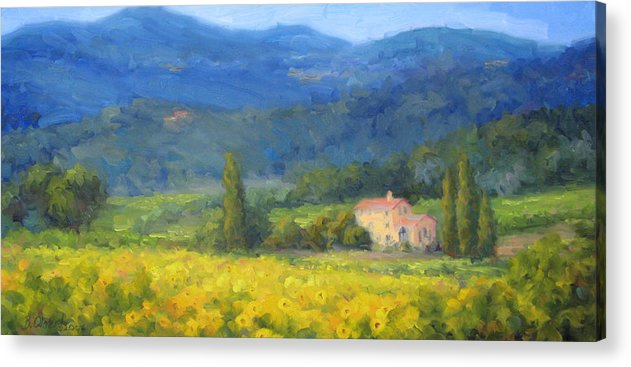 Italy Acrylic Print featuring the painting Italian Sunflowers by Bunny Oliver