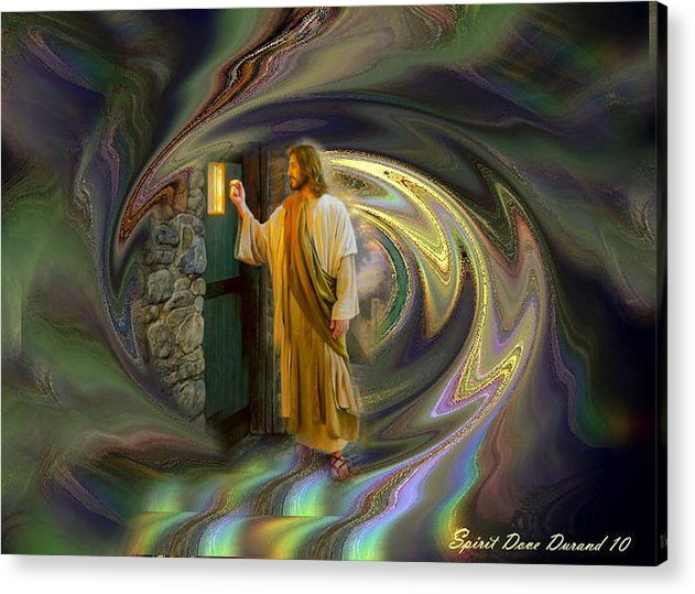 Jesus Acrylic Print featuring the digital art Jesus Let Him In by Spirit Dove Durand