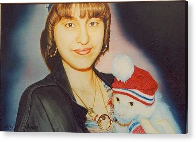 Super Detailed Model With Her X-mas Ornamented Cat Acrylic Print featuring the painting Kats Cat by Benito Alonso