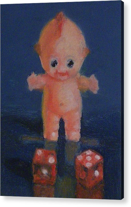 Doll Acrylic Print featuring the painting Kewpie On A Roll by Becky Alden