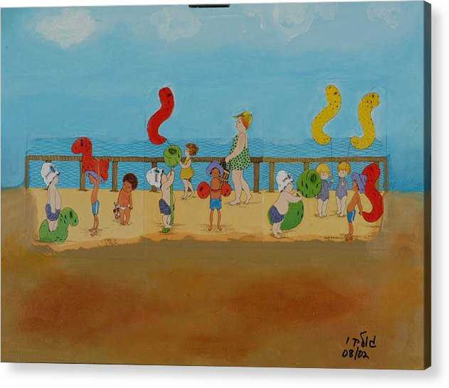 Children Acrylic Print featuring the painting Kids At The Beach by Harris Gulko