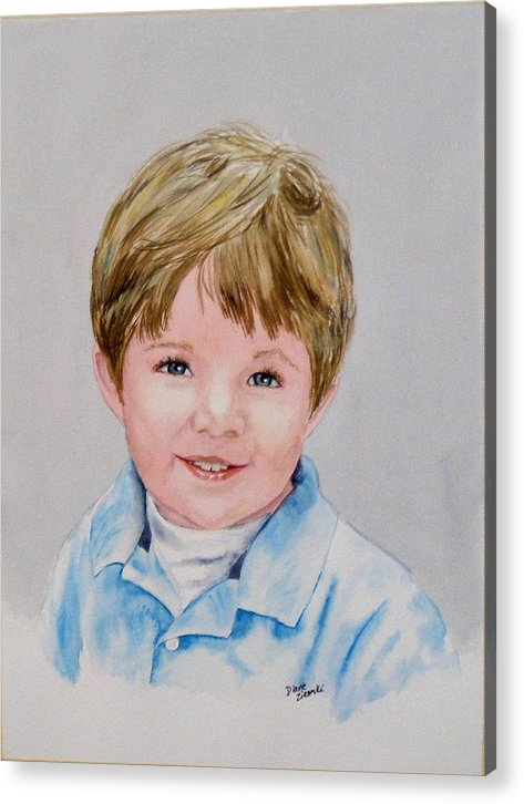 Acrylic Print featuring the painting Kieran - Commissioned Portrait by Diane Ziemski