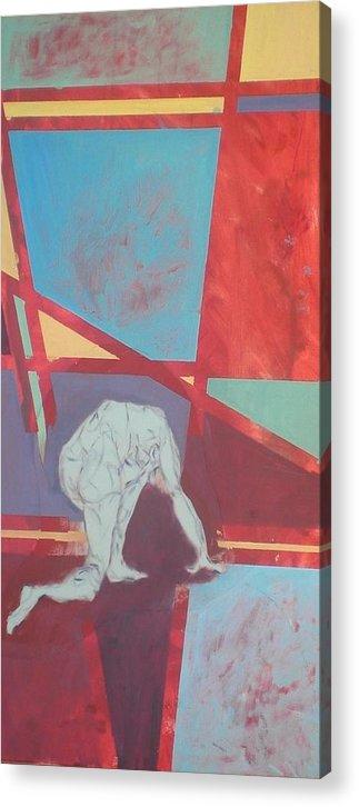 Figure Kneeling Acrylic Print featuring the painting Kneeling Figure by Aleksandra Buha