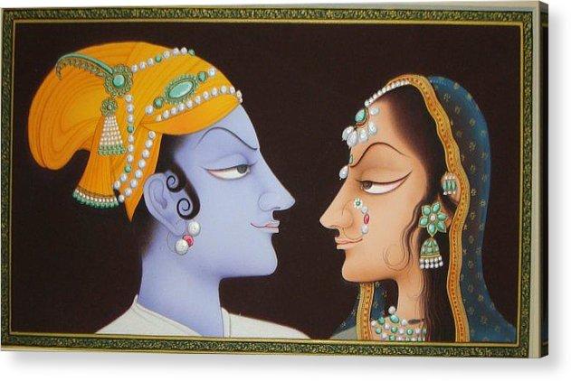 Indian Miniature Acrylic Print featuring the painting Krishna N Radha by Devendra Sharma