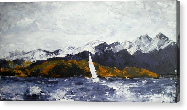 Lake Acrylic Print featuring the painting Lake Dillon In Fall by Anna Kowalewicz