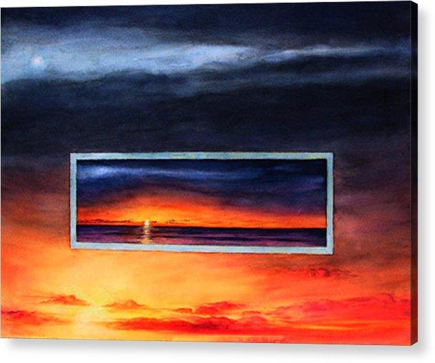 Sunrise Acrylic Print featuring the painting Lake Michigan Sunrise by Nancy Ethiel