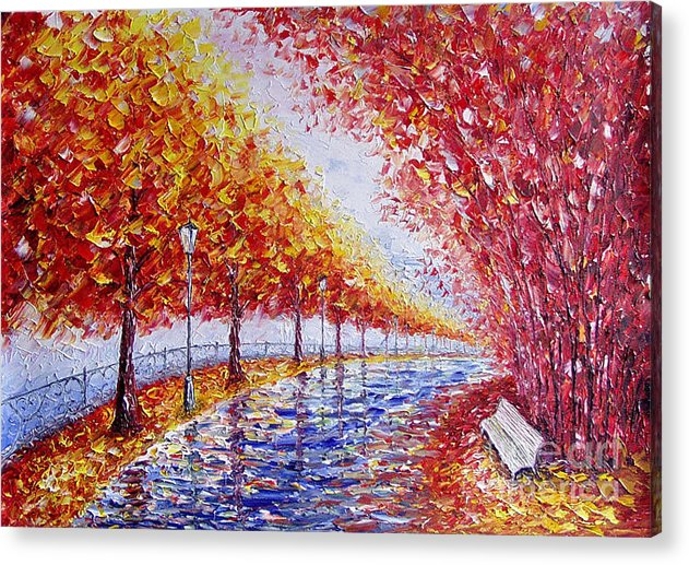 Landscape Acrylic Print featuring the painting Landscape Painting Gold Alley by Valery Rybakow