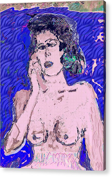 Nude Acrylic Print featuring the painting Late by Noredin Morgan