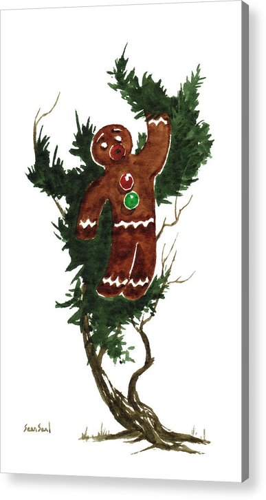 Gingerbread Man Acrylic Print featuring the painting Little Tree 97 by Sean Seal
