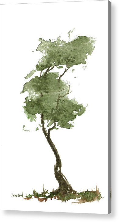 Zen Acrylic Print featuring the painting Little Zen Tree 206 by Sean Seal