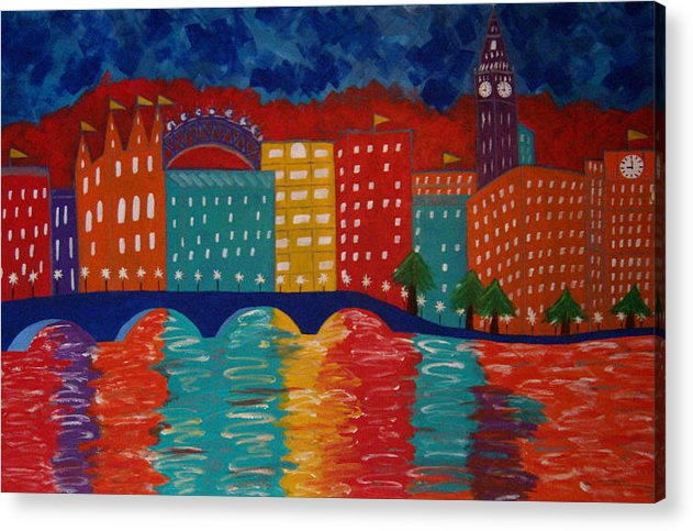 36 Inch Abstract Acrylic Cityscape Acrylic Print featuring the painting London by Linda Powell