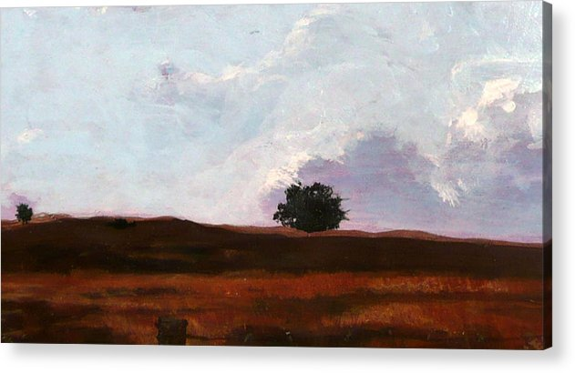 Landscape Acrylic Print featuring the painting Lone Oak by Jill Iversen