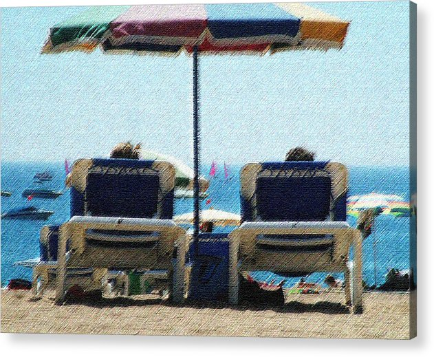 Sun Loungers Spain Acrylic Print featuring the photograph Loungers by John Bradburn