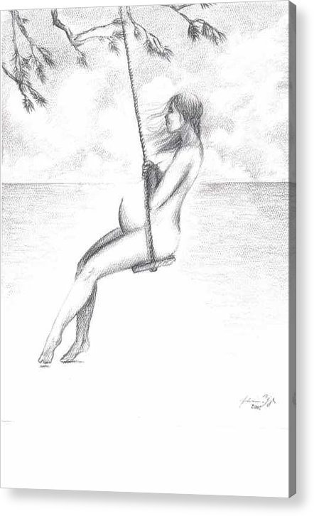 Pregnant Woman On Swing Acrylic Print featuring the drawing Lullaby by Julianna Ziegler