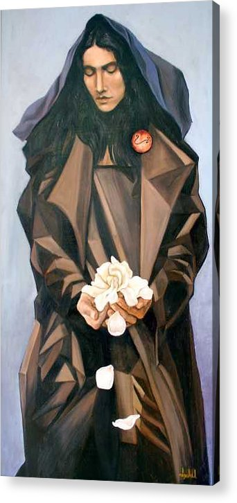 Woman Acrylic Print featuring the painting Madonna by Ixchel Amor