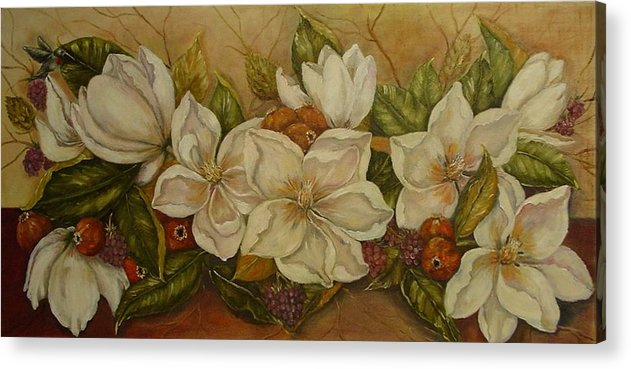 Magnolia Acrylic Print featuring the painting Magnolias by Tresa Crain