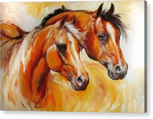 Equine Acrylic Print featuring the painting Mare And Stallion By M Baldwin Sold by Marcia Baldwin