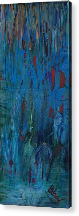 Blue Marsh Scene Acrylic Print featuring the painting Marsh Hunt And African Warrior by Peggy Blood